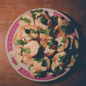 Wild garlic canapés