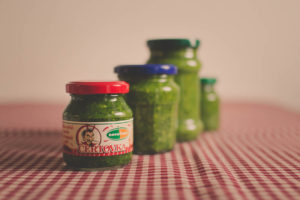 Wild garlic pesto in jars